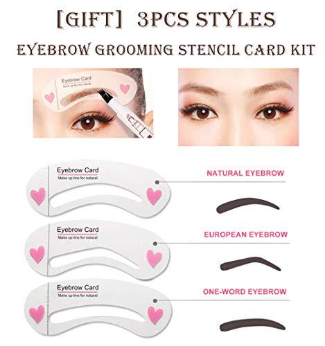 Eyebrow Tattoo Pencil with Eyeliner Pen, Drawing Eyebrow Pencil Eye Makeup Long Lasting Waterproof & Smudgeproof (3 pcs Dark Brown/Black))