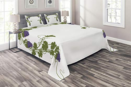 Lunarable Vine Coverlet Set Queen Size, Grapevine Arch Design Wedding Inspired Green Gate of Happiness Good Memories Print, 3 Piece Decorative Quilted Bedspread Set with 2 Pillow Shams, Violet Green