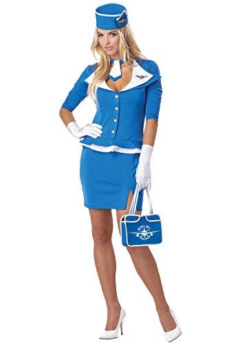 California Costumes Women's Retro Stewardess Adult, Blue, Large