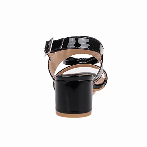 Womens Foot Bows Mid Sandal Black Charm Toe Heel Open Fashion xS6wS5Z