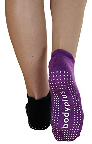Pilates Yoga Grip Socks for Women - 2 Pairs Non Slip Barre Exercise - (Black & Purple) Fit 7-9 Shoe Size