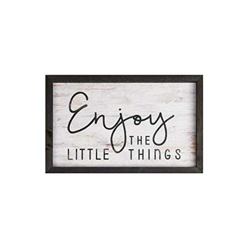 (P. Graham Dunn Enjoy The Little Things White Wash 18 x 11 Inch Solid Pine Wood Farmhouse Frame Wall Plaque)