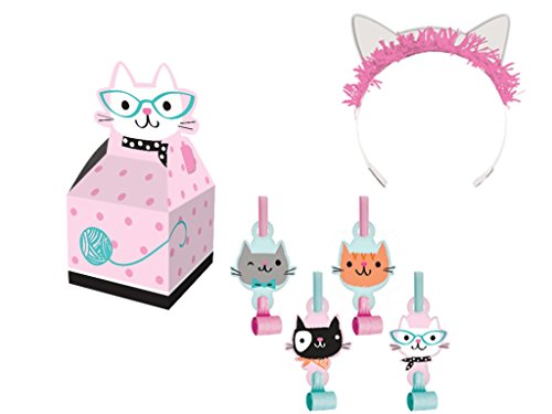 CreativeConverting Incorporated Purr-FECT Cat Party Favor Supply Pack Including Tiaras, Favor Boxes & Blowouts for 16 Guests
