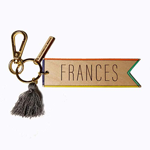 - Custom Wood Personalized Hand-Painted Engraved Keychain with Colorful Tassels