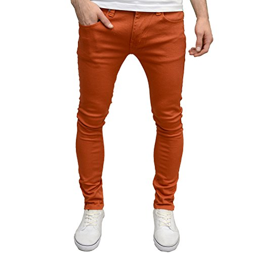 Soulstar Mens Boys Designer Branded Skinny Stretch Jeans (34W x 30L, Rust)