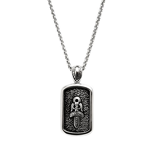 MENS STAINLESS STEEL CROSS + SWORD DOG TAG PENDANT PENDANT NECKLACE- GENUINE STAINLESS STEEL (Tag Pendant Dog Sword)