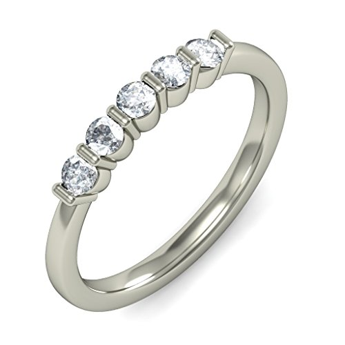 18K Or Blanc, 0,34carat Diamant Taille ronde (IJ   SI) en diamant