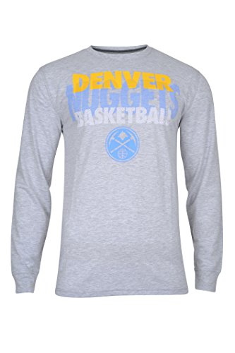 fan products of NBA Men's Denver Nuggets T-Shirt Supreme Long Sleeve Pullover Tee Shirt, Small, Gray