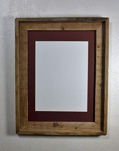 Picture Frame With 9x12 Brown Mat Reclaimed Wood Rustic Style Complete With Glass