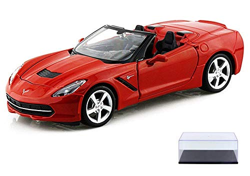 (Diecast Car & Display Case Package - 2014 Chevrolet Corvette Stingray Convertible, Red - Maisto 31501 - 1/24 Scale diecast Model car w/Display Case)