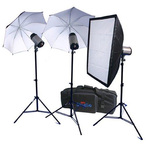 (RPS Studio 600 Watt/Second SB-200 Monolite Studio Kit (RS-SB/DLK3) 3 Strobes, 2 Umbrellas, 1 Soft Box, 3 Stands, PC Cords, Wireless Flash Trigger & Case)