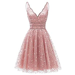 AiniDress Women's Tulle Prom Gown Short Dress Crystal Sparkle Party Dress