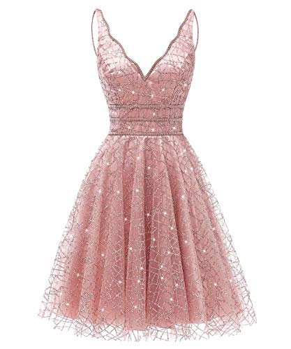 Women's Tulle Prom Gown Short Homecoming Dresses Crystal Sparkle Party Dresses(Blush,06)