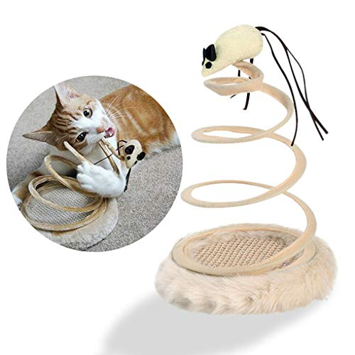 Andiker Interactive Cat Toy, Cat Plush Toy with Spiral Spring Plate and Funny Ball or Mouse Interactive Stainless Steel…