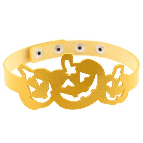 Beydodo Halloween Necklace for Women Yellow Pumpkin Necklace Halloween Party Gift Leather Choker