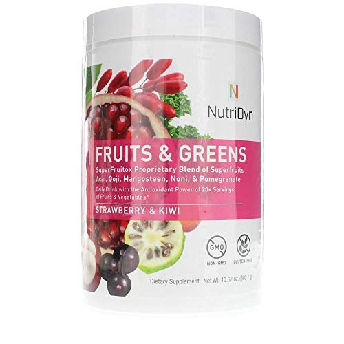 NutriDyn Fruits & Greens Strawberry/Kiwi Flavor *Certified Organic* w/ Acai, Gogi, Mangosteen, Noni & Pomegranate Super Fruits 300 Grams (Strawberry Kiki)