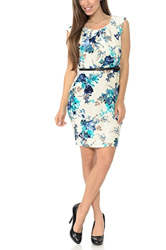 Auliné Collection Women's Color Office Workwear Sleeveless Sheath Dress Floral Cream Teal Large - Workwear For Women