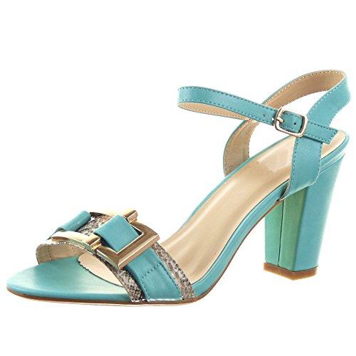 Sopily - Scarpe da Moda alla caviglia donna lucide Pelle di serpente fibbia metallico Tacco a blocco 8.5 CM - Blu