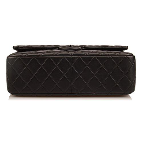 Leather Ainifeel With Oversize Quilted Genuine Women's Black Handbag Bag Hobo Purse Shoulder Hardware Gunmetal F4R4qIwrx