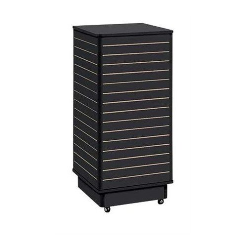 - Retails Black Finished Slatwall Tower with Rolling Base 24