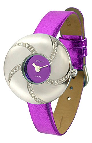 Moog Paris - Hypnotyse - Women's Watch with purple dial, purple strap in Genuine calf leather, made in France - M44312-003