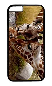 MOKSHOP Adorable Giraffe Parental Love Hard Case Protective Shell Cell Phone Cover For Apple Iphone 6 Plus (5.5 Inch) - PC Black