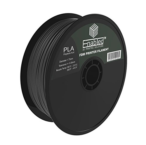 Enabled PLA 3D Printer Filament, Dimensional Accuracy +/- 0.05 mm, 1 kg Spool, 1.75 mm, Black Enabled Supplies