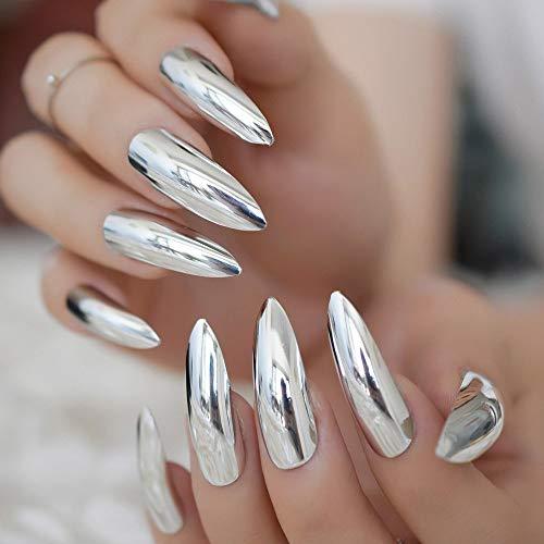 CoolNail Metallic Mirror Extra Long Stilettos Sharp False Nail Metal Silver Fake Nails Acrylic Artificial Stiletto Nail Art Fuax Ongles -