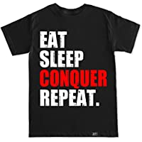 Fishing Tackle Direct Prendas de vestir de los hombres Eat Sleep Conquista Repetir T Shirt
