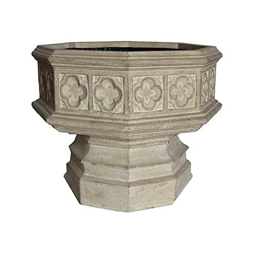 24 in. x 19-1/2 in. Cast Stone Hexagonal Gothic Urn in Limestone by MPG Sport