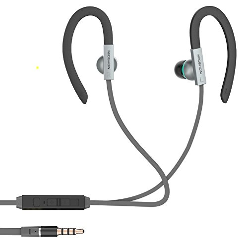 Earhook Headphones, Q-YEE In Ear Wired Headphones Noise Cancelling Sweatproof Earphone with 3.5mm Jack (Grey)