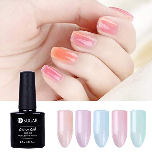 UR SUGAR 7.5ml Opal Jelly Gel Nail Polish Set Crystal Soak Off Varnish UV LED Gel Manicure Nail Art Lacquer Transparent Summer Color 8 Bottles Starter Kit