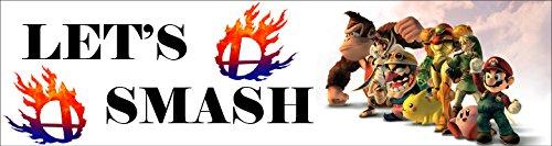 Lets Smash Bumper Sticker - Smash Bros Melee - Super Mario Bros - Bumper Sticker - Automotive (Bros Super Decal Smash)