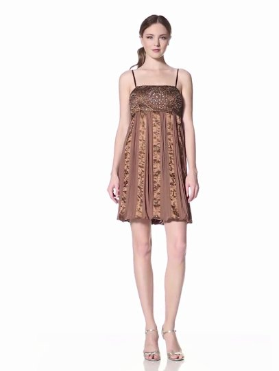 Sue Wong Women's Bubble Dress with Beaded Bodice, Brown, 4 US