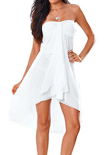 Upopby Women's Mesh Swimsuit Cover Up Bikini Sarong Strapless Dress Midi Skirt Beach Coverup Dress White XXL ()