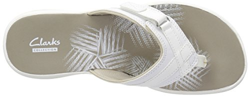 CLARKS Women's Breeze Sea Flip Flop, New White Synthetic, 9 M US by CLARKS (Image #11)