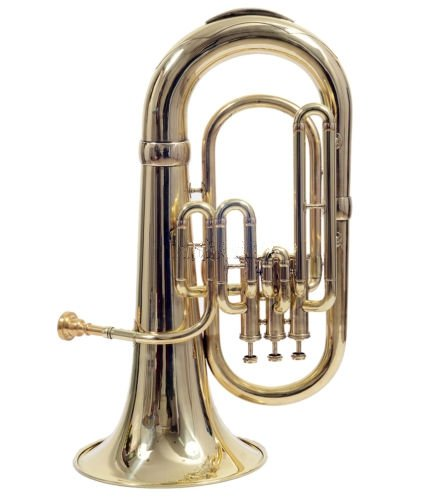 Queen Brass Euphonium_Brass Finish Pitch Great Sound W/Case & Mp Gold by Queen Brass