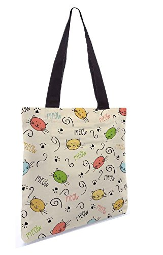Snoogg Meow Art Carino 13.5 X 15 Pollici Shopping Bag Tote In Tessuto Di Poliestere
