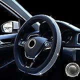 D Shaped Crystal Steering Wheel Cover - Leather Bling Bling Steering Wheel for Women Girls 15 inch Black Silver (black silver)