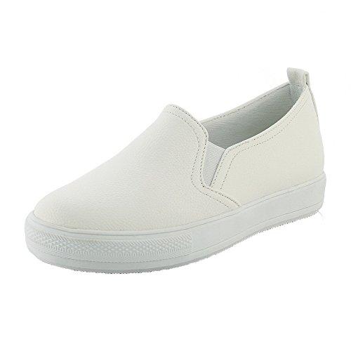 Pu Chaussures Couleur Femme Rond Unie Tire Légeres À Blanc Agoolar Bas Talon Cuir 5pWvB58