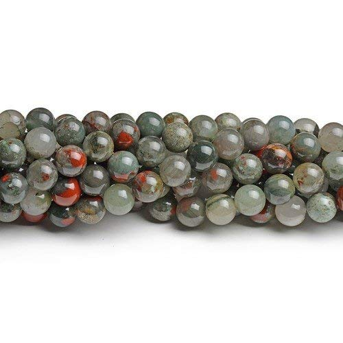 CB43758-2 Charming Beads Strand of 40 Green//Red Bloodstone 8mm Plain Round Beads