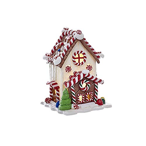 - Largemouth Kurt S Adler Candy Cane LED Lighted Collectible Gingerbread Houses (Flat Roof)