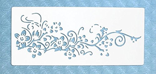 Stencil by The Bodhi Tribe- Flowers on Vine Yoga Stencil for DIY Painting and Art Projects (Stencil Vine Flower)