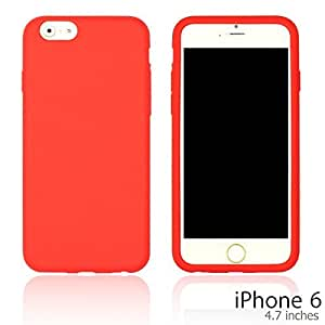 OnlineBestDigital - Colorful Soft Silicone Case for Apple iPhone 6 (4.7 inch)Smartphone - Red with 3 Screen Protectors