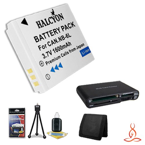 Halcyon 1600 mAH Lithium Ion Replacement NB-6L Battery + Memory Card Wallet + SDHC Card USB Reader + Deluxe Starter Kit for Canon PowerShot D10, D20, Elph 500 HS, S90, S95, SD1200 IS, SD1300 IS, SD3500 IS, SD4000 IS, SD770 IS, SD980 IS, SX260 HS, SX500 IS by Halcyon