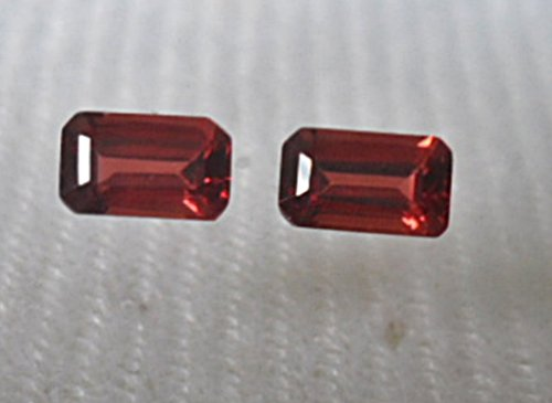 (Rho-f#009 Splendidly Genuine Sherry Red Rhodolite Garnet .90 Ct.(qty=2) Octagon Shape~excellent Color & Luster~)