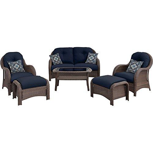 Hanover Outdoor Newport 6-Piece Woven Seating Set, Navy - Newport Beach Stores