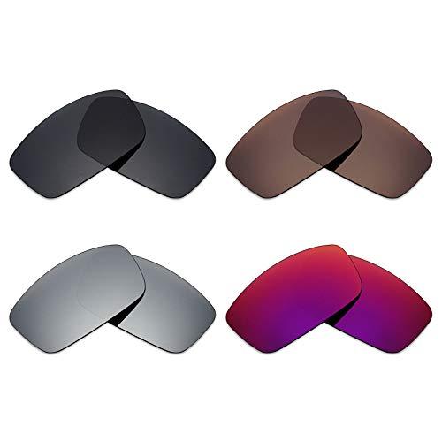Mryok 4 Pair Polarized Replacement Lenses for Spy Optic Logan Sunglass - Stealth Black/Bronze Brown/Silver Titanium/Midnight Sun