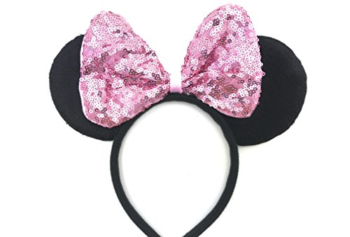 Disney Mickey Ears Headband (MeeTHan Disney Mickey Mouse Minnie Mouse Sequin Ears Headband: M8 (SQ-Pink1))