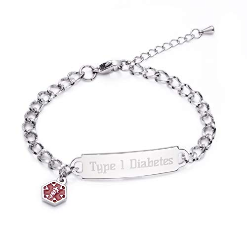 linnalove Shining Diamond Cutting Medical Alert id Bracelet for Women & Girls (Diabetes Type ()